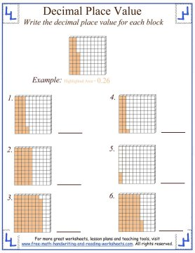 Number Names Worksheets place value and value worksheets : Decimal Place Value Worksheets