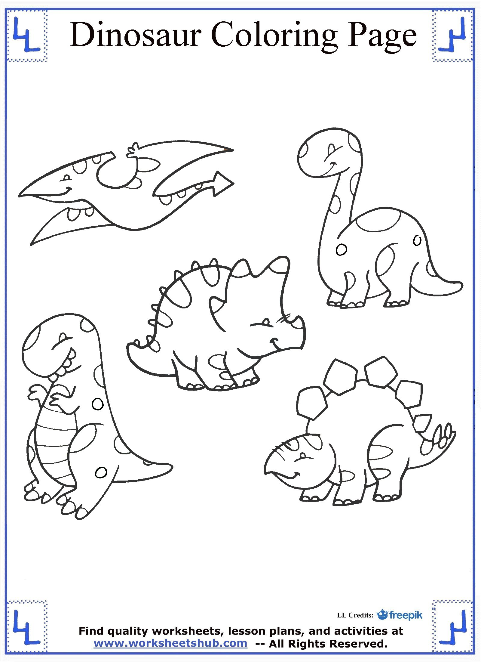 Worksheets For Dinosaurs : Dinosaur coloring pages