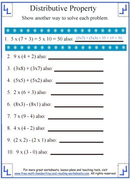 Printables Properties Of Math Worksheets worksheet properties of math worksheets kerriwaller printables distributive propertymath property 1
