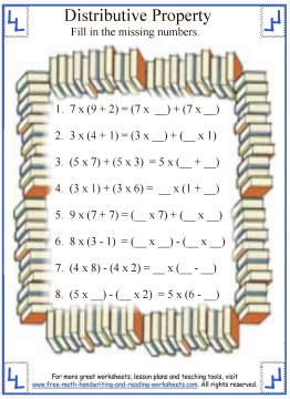 Distributive Property:Math Worksheets