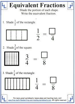 equivalent fraction worksheets equivalent fraction worksheets