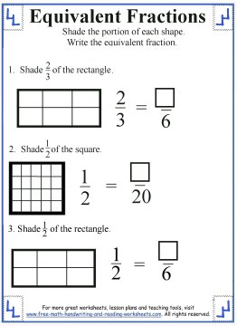 equivalent fraction worksheets 4