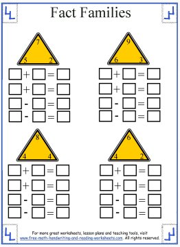 Worksheets Math Fact Families Worksheets fact family worksheets 1
