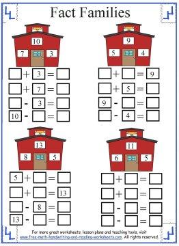 1st grade math fact family worksheet