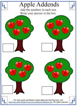 1st grade addition worksheet