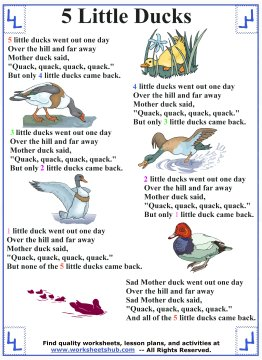 Five Little Ducks - Preschool Activities