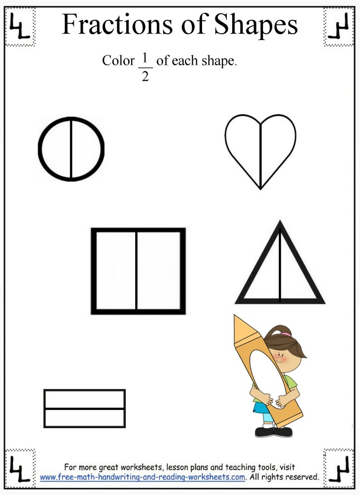 {Fractions WorksheetDividing Shapes – 1 2 Fraction Worksheets