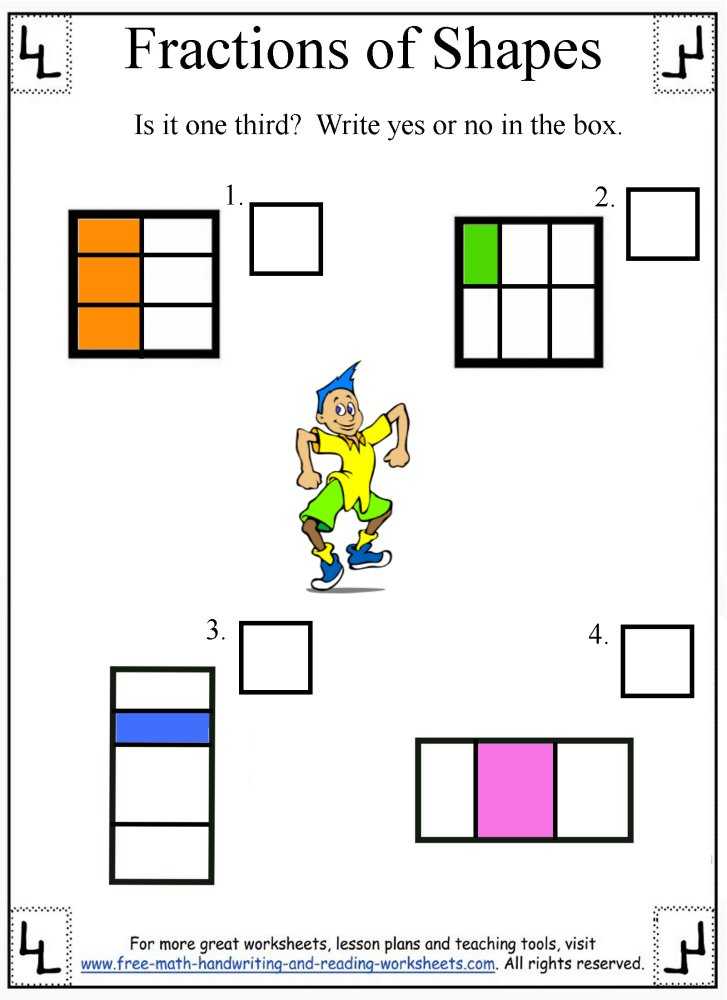 Fractions Worksheet on halloween worksheets for first grade