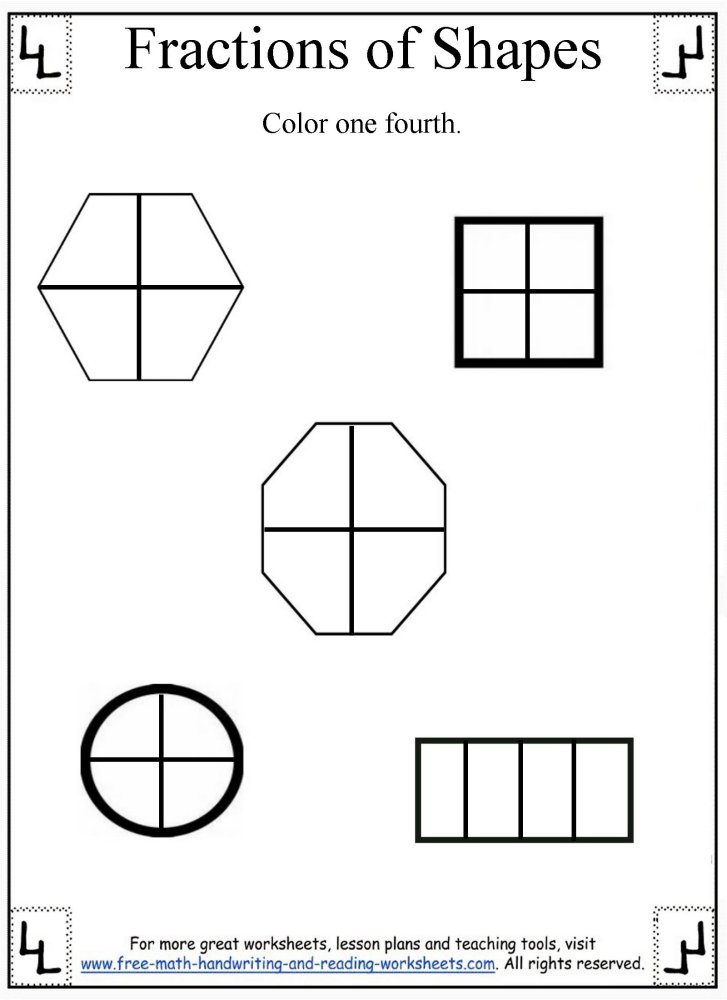 Fractions WorksheetDividing Shapes – Fractions of Shapes Worksheet