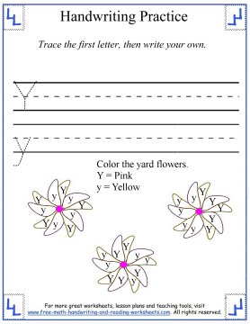 writing the letter y practice page