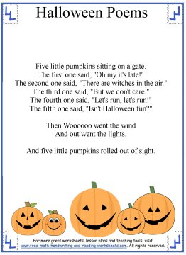 photograph regarding Five Little Pumpkins Sitting on a Gate Printable referred to as Halloween Poems - 5 Minimal Pumpkins