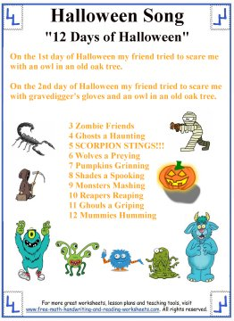 Halloween Songs For Kids Printable Lyrics With Coloring