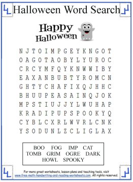 Halloween Word Search Printable Activities