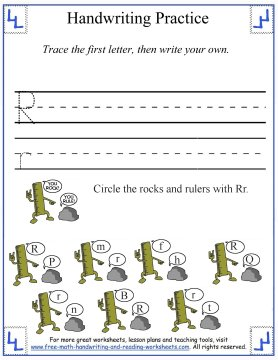 letter Rr handwriting practice sheet