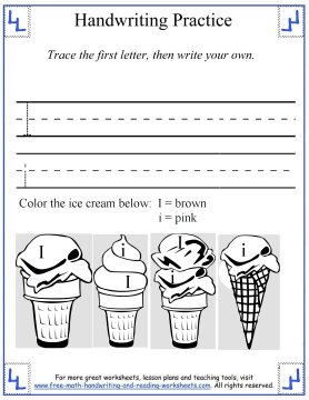 letter Ii handwriting practice worksheet