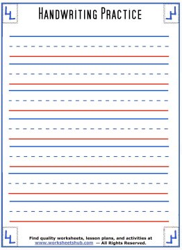 Wide Handwriting Sheets  Free Lined Handwriting Paper