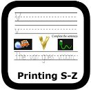 handwriting worksheets S-Z