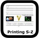 handwriting worksheets S-Z