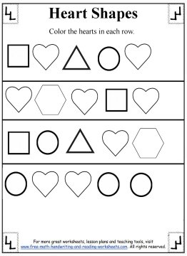Printables Heart Worksheets heart shapes preschool worksheets
