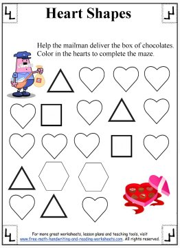 Printables Heart Worksheets heart shapes preschool worksheets 4