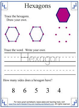 Printables Hexagon Worksheets hexagon shape worksheets 2