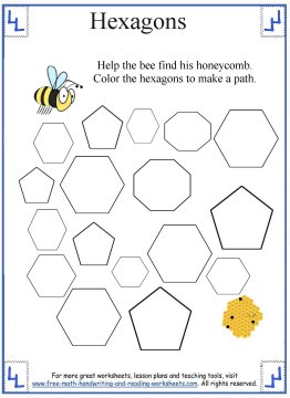 Worksheet Hexagon Worksheets hexagon shape worksheets