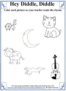 hey diddle diddle nursery rhyme 4 - Worksheet For Nursery