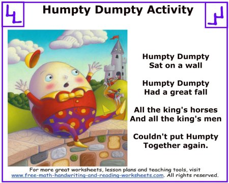 humpty dumpty nursery rhyme 1