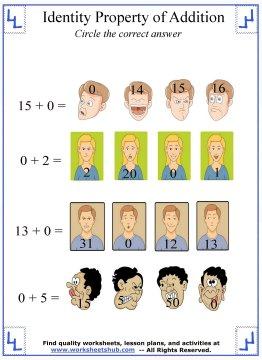 identity property  worksheets  lesson identity property
