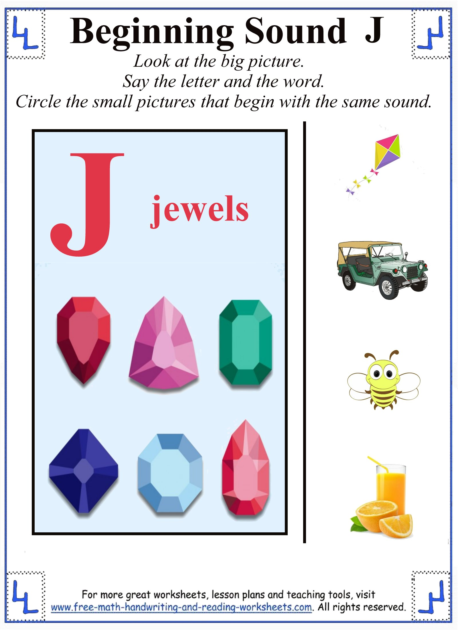 preschool j letter worksheet