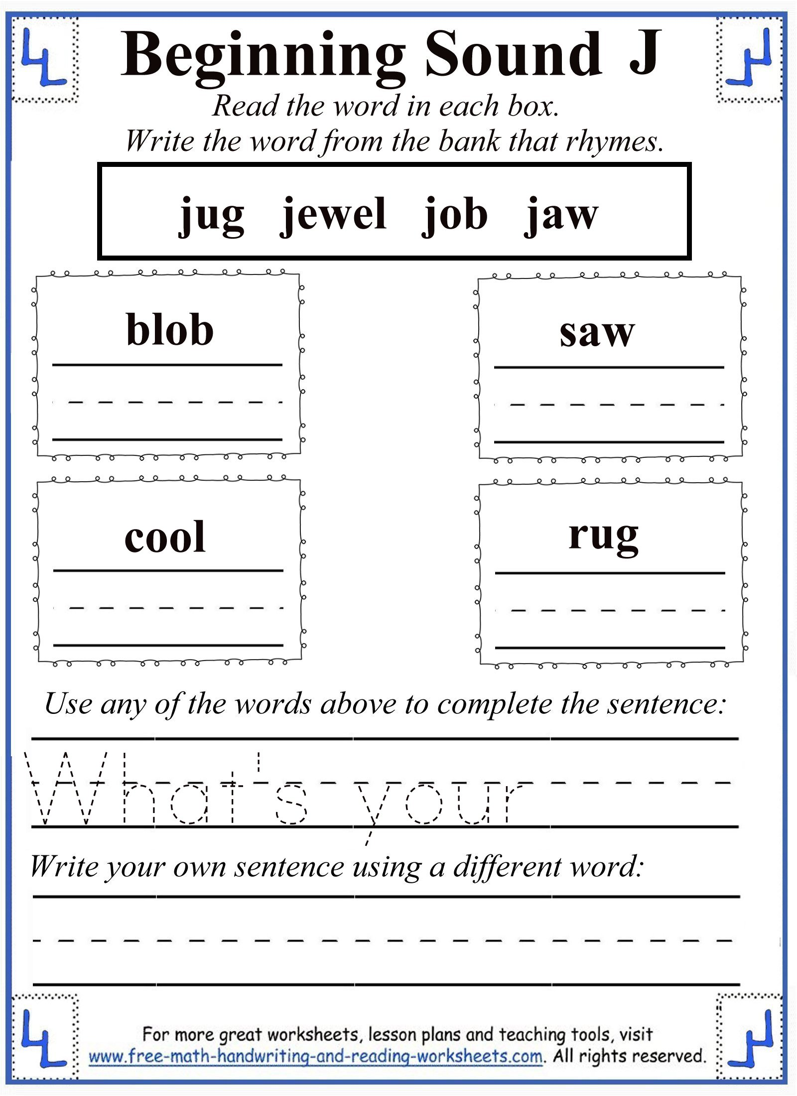 letter j rhyming activity