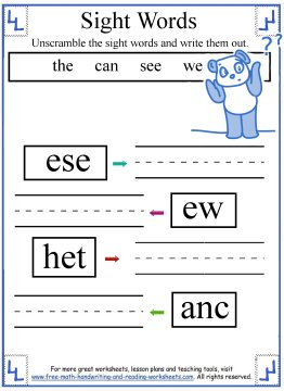 math worksheet : kindergarten sight words activities : Kindergarten Sight Words Worksheets Free