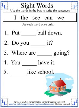 Printables Free Printable Worksheets For Kindergarten Sight Words kindergarten sight words activities