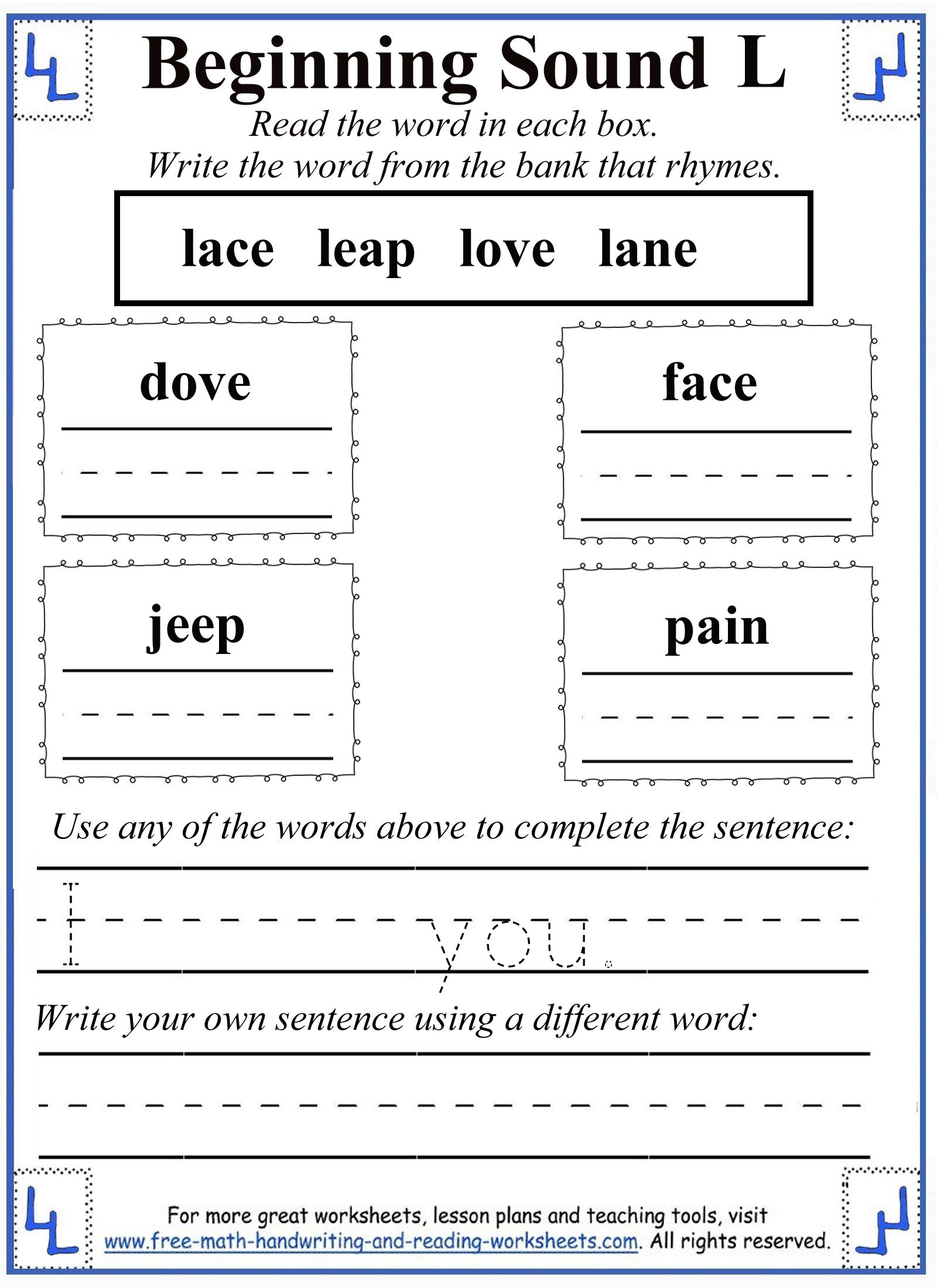 Worksheets Letter Sound Worksheets l letter worksheets 4