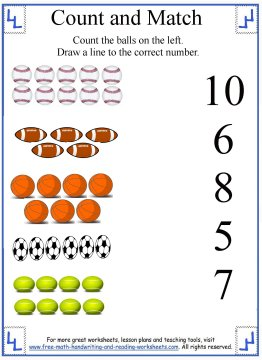 math worksheet : learn to count counting to 10 worksheets : Sports Math Worksheets