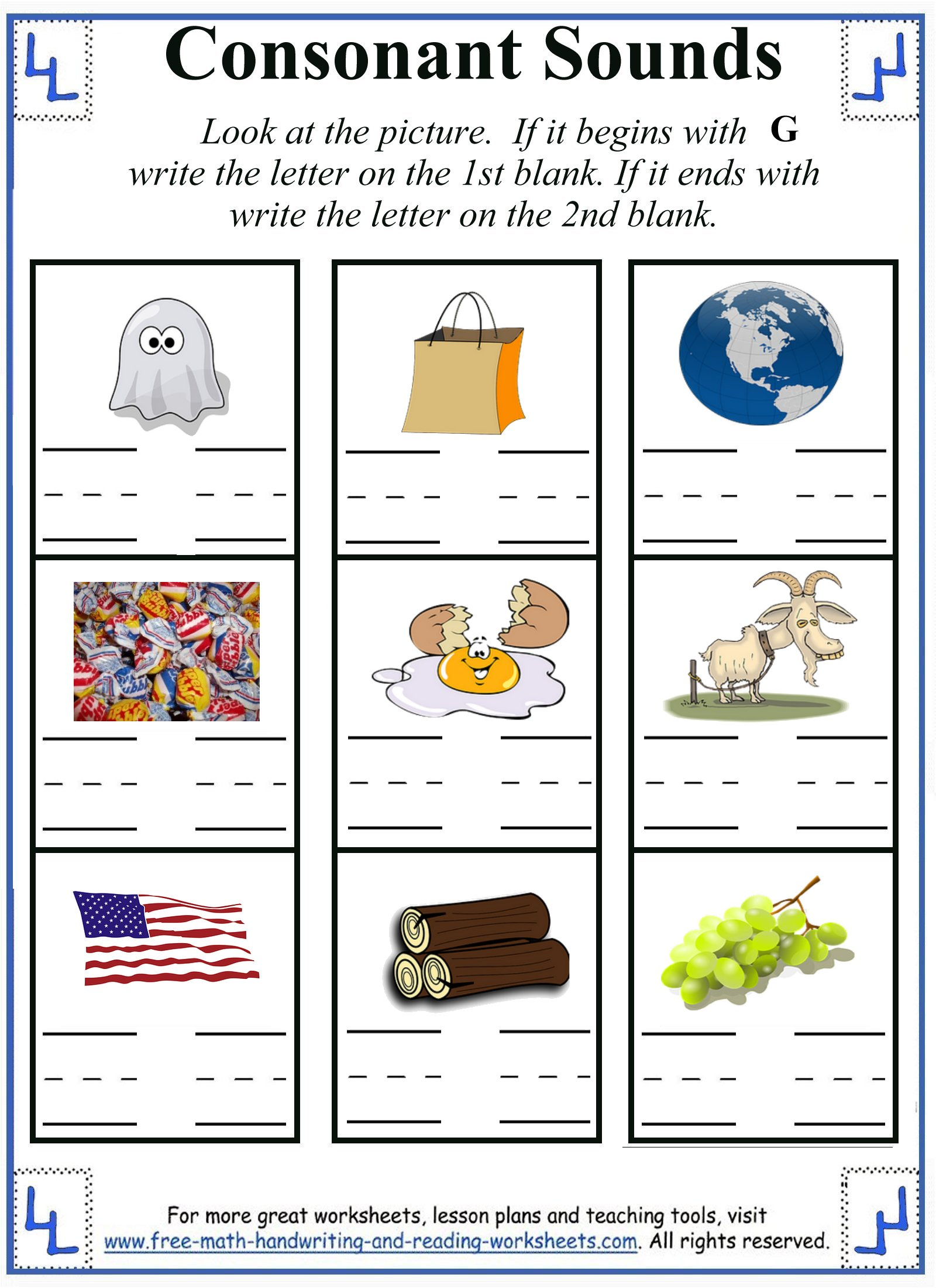 worksheet Beginning And Ending Sounds Worksheets letter g worksheet activities 5