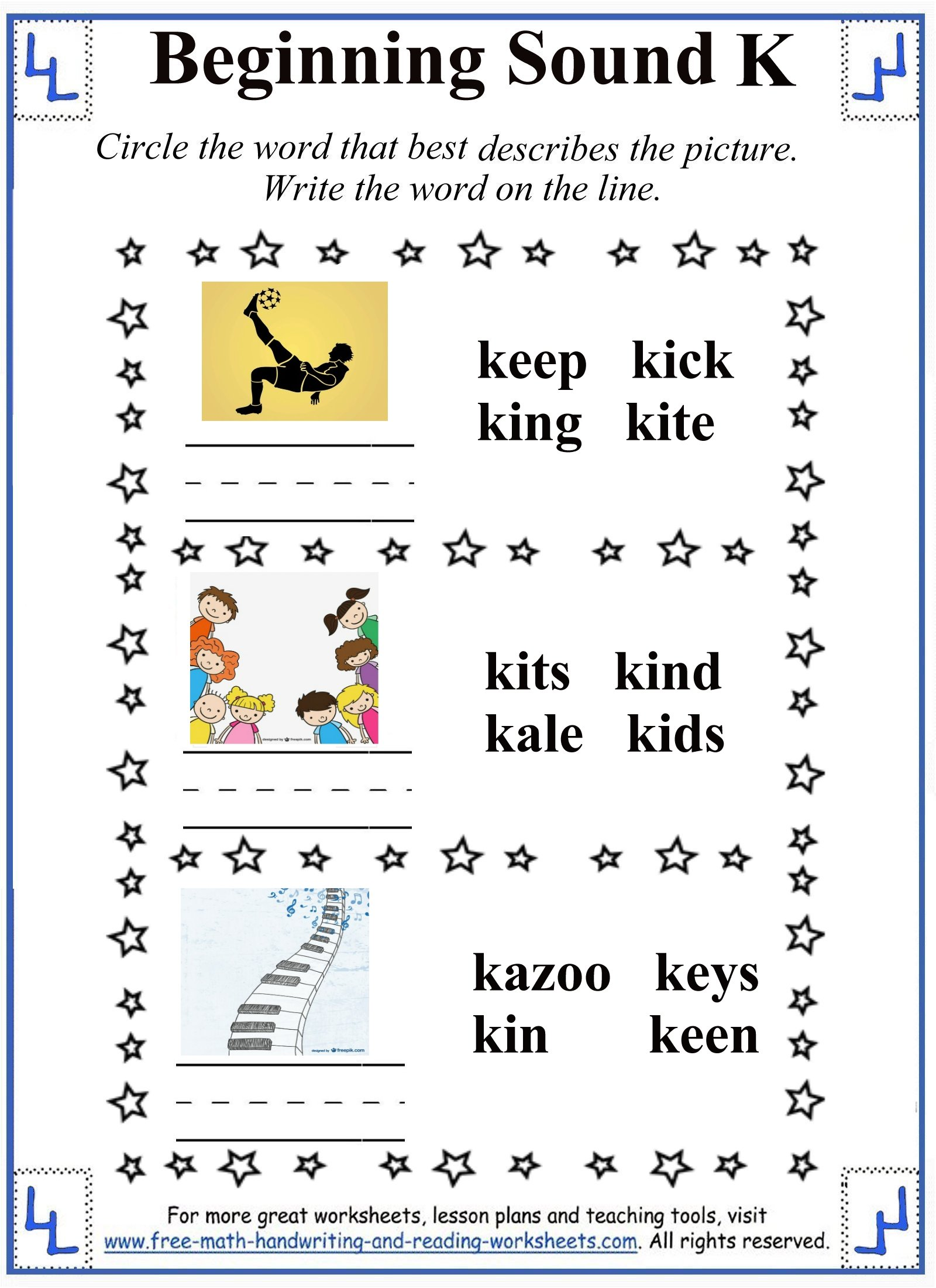 letter k pictures and words activity