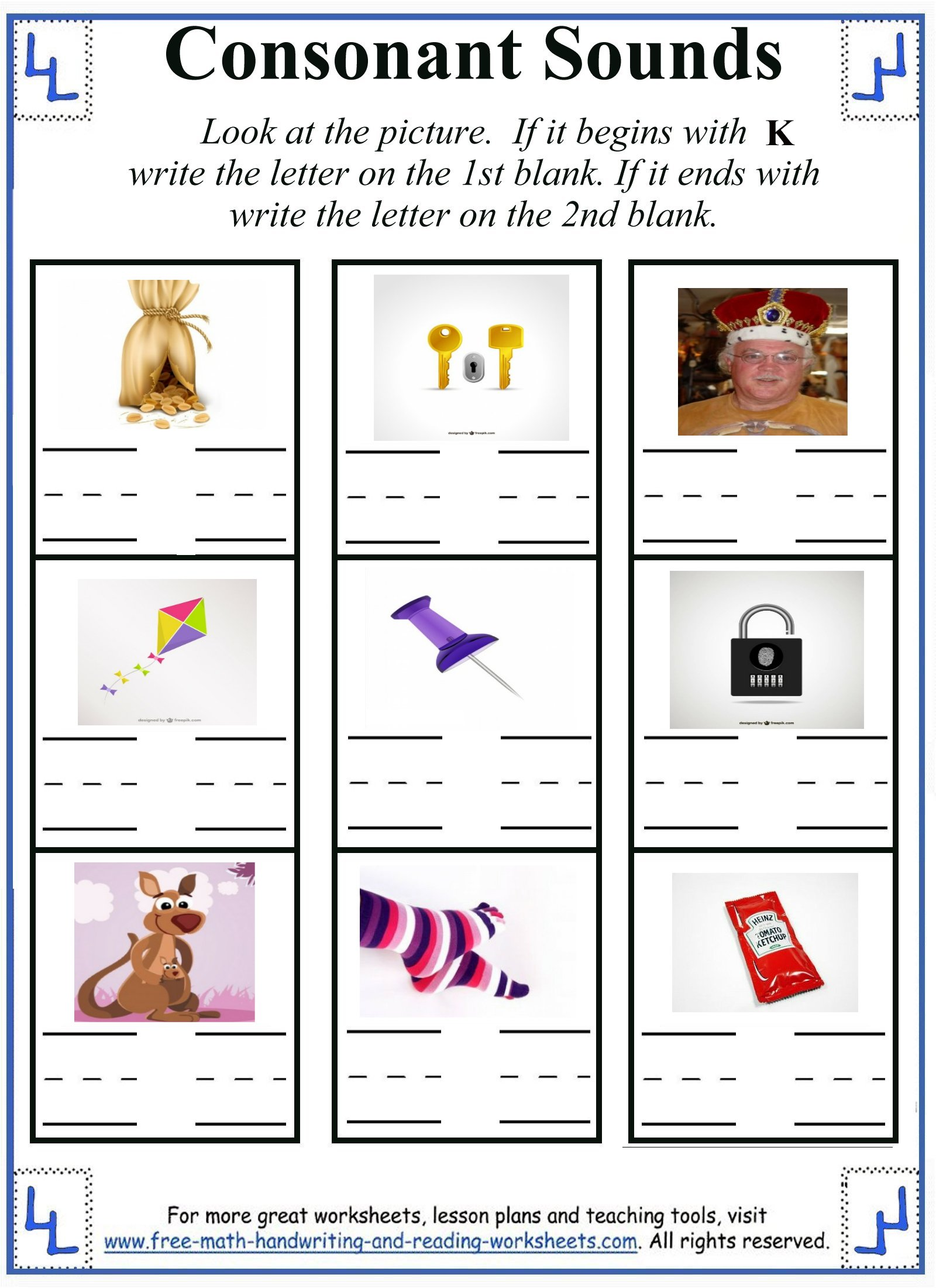 worksheet Beginning And Ending Sounds Worksheets letter k worksheets activities worksheet 5