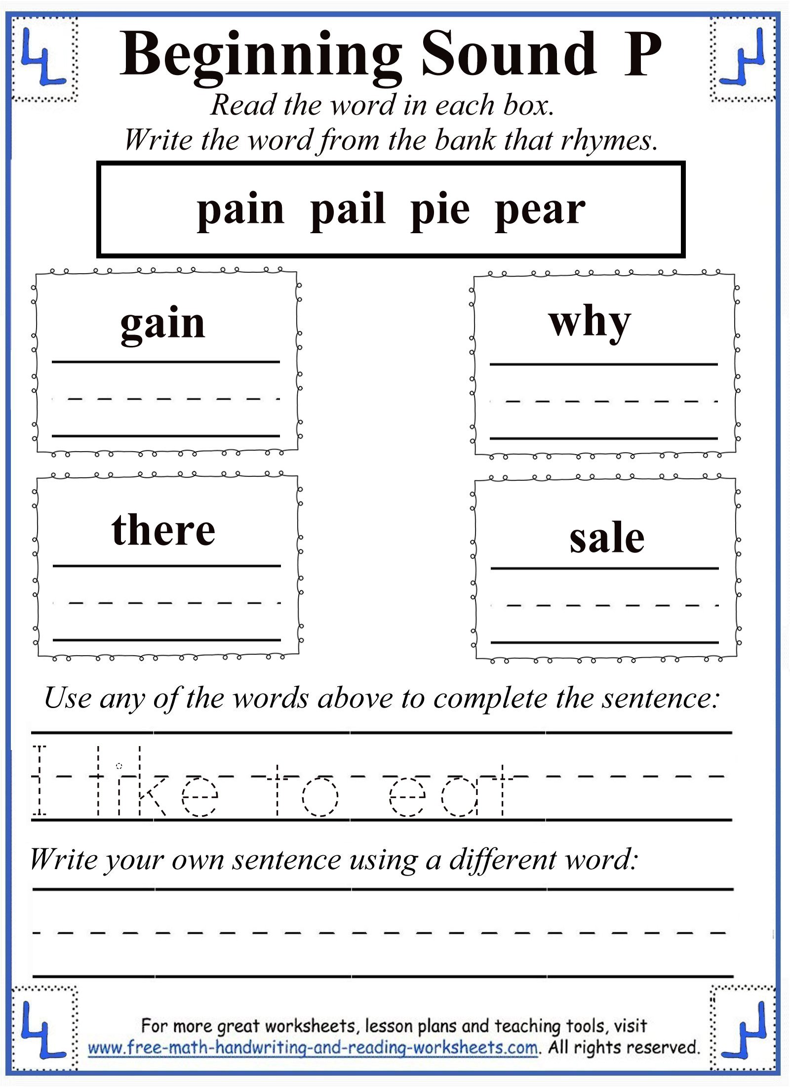 letter p worksheet 4