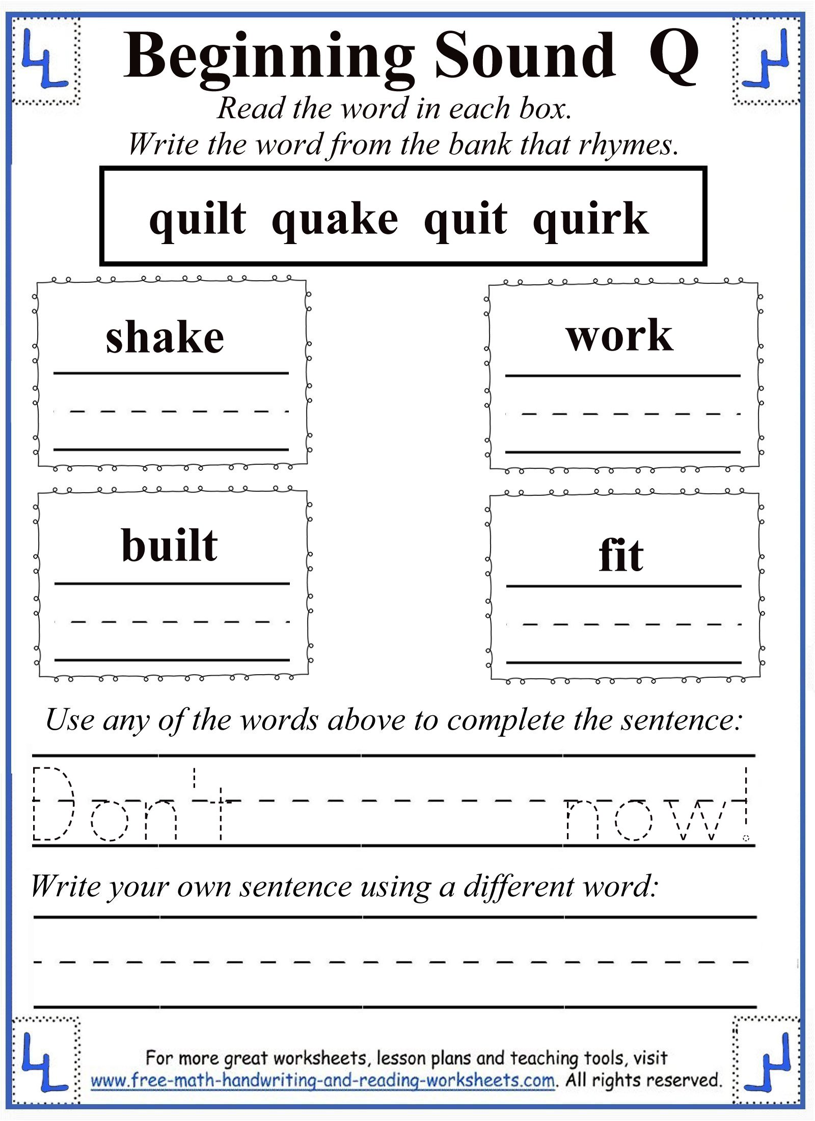 Letter Q Worksheets – Rhyming Worksheets for Kindergarten Cut and Paste