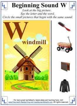 letter w worksheet 1
