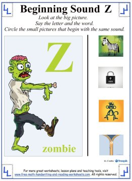 Letter Z Worksheets:Alphabet Lessons