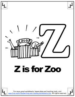 phonetic letter z coloring page