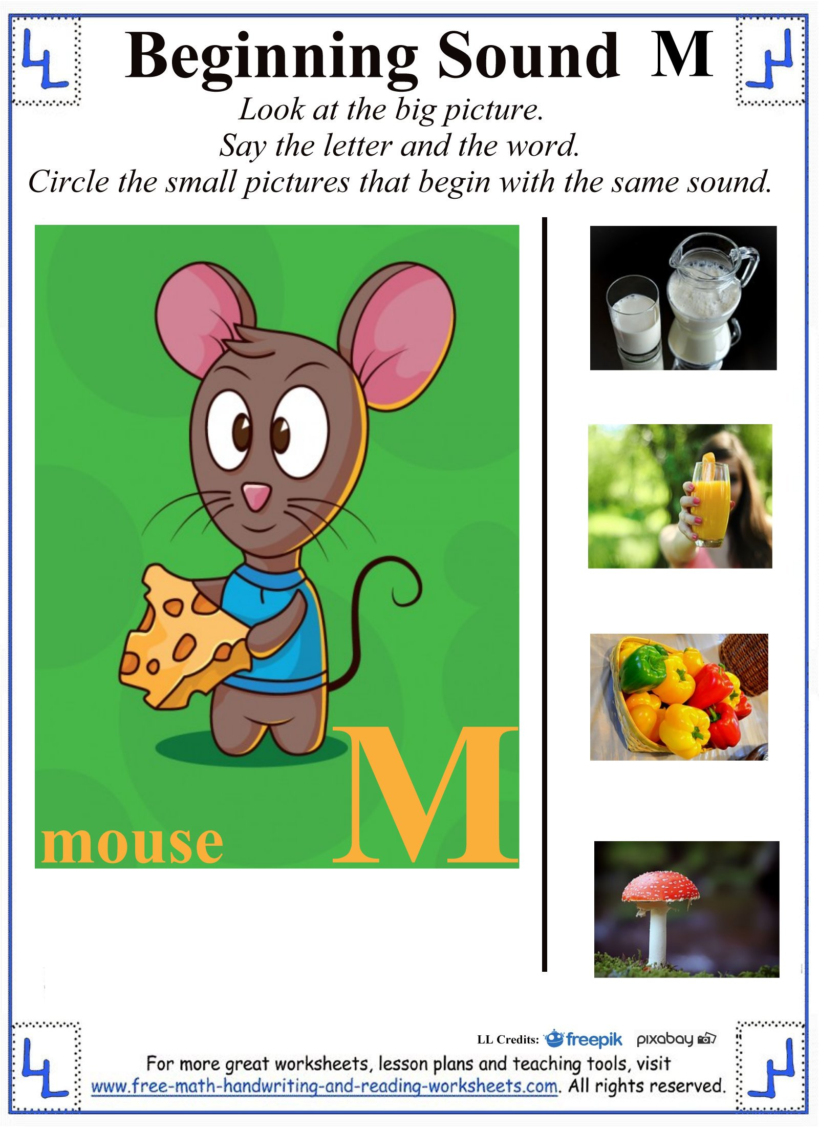 preschool letter m worksheet