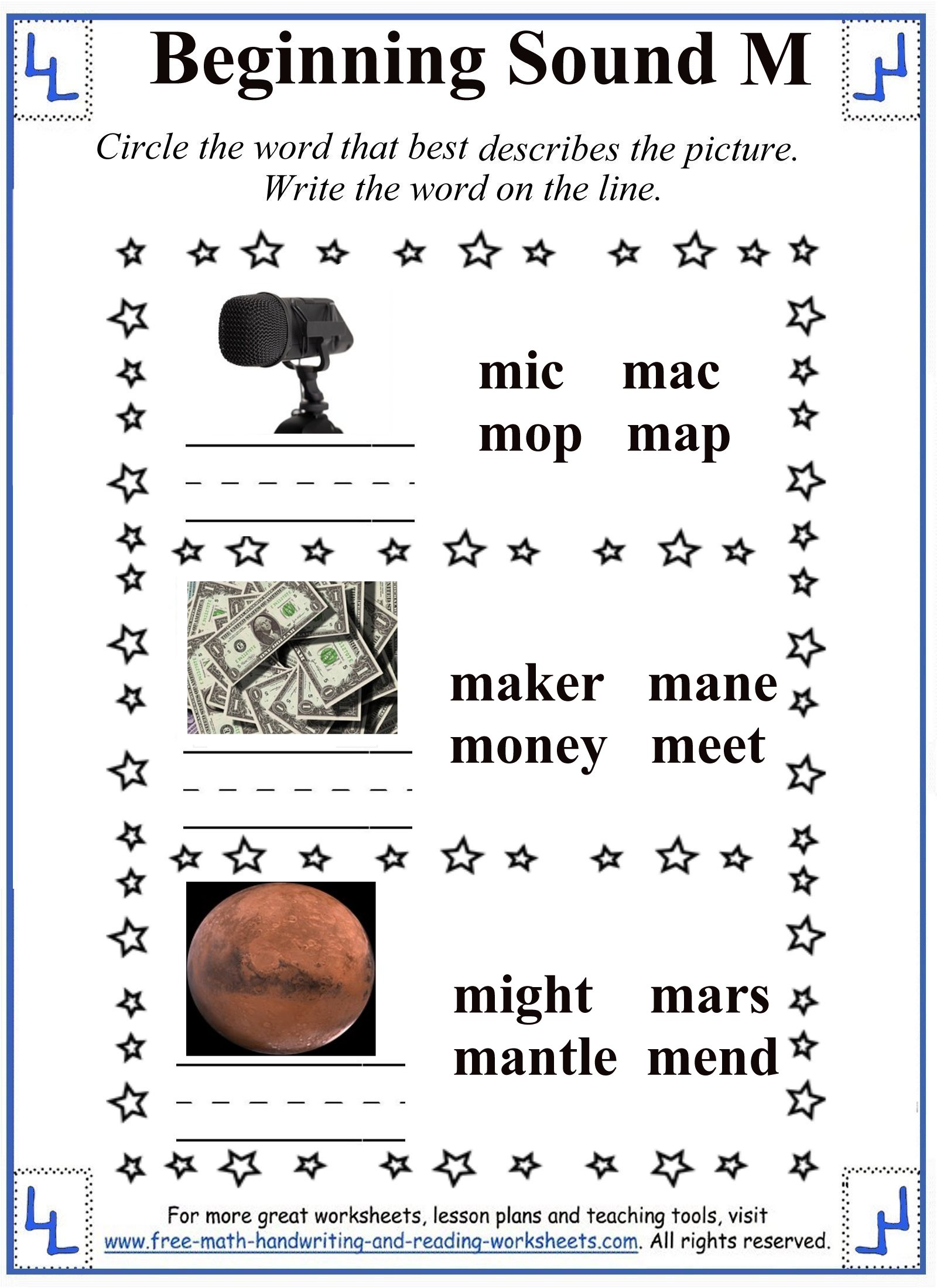 m letter worksheet