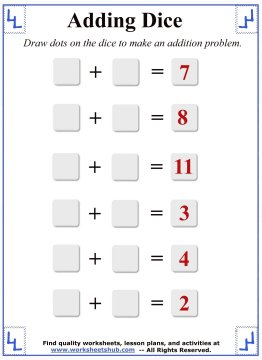 Math Addition Worksheets:Adding Dice