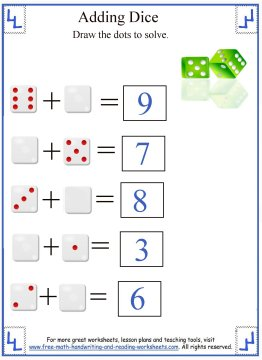 Math Addition Worksheets:Adding Dice