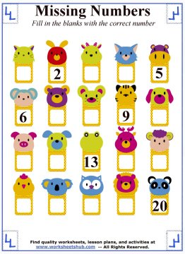 Missing Numbers:Counting Worksheets