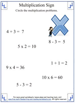 identifying the multiplication sign