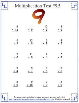 Multiplication Test - Multiples Up To Twelve